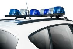 Police Car. White Police or Security Car with Blue Lights Stock Image