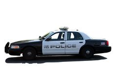 Police car. Isolated on white Stock Photos