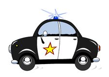 Police car. The cartoon police car in action Stock Images