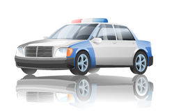 Police car. The police car on a white background with reflexion royalty free illustration