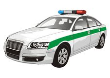 Police car. Vector illustration on white background Stock Images