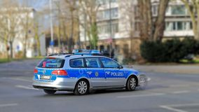 Police car in action on the street. Police car in high speed and action on the street stock photos