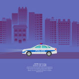 The police car. Against the background of the night city. The patrol vehicle on the city highway. Service 911. A vector illustration in flat style with the Royalty Free Stock Photography