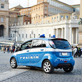 Police car on area of big city Royalty Free Stock Photos
