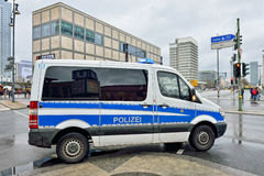 Police car arrive to Alexanderplatz Stock Image