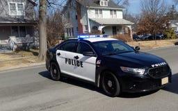 Police Car Barricade. On residential neighborhood street stock images