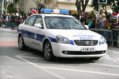 Police car in carnival Royalty Free Stock Images