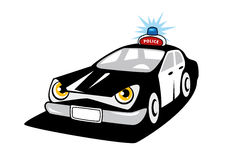 Police car cartoon character with flashing siren Royalty Free Stock Images