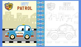Free Police Car Cartoon In The Road On Building Background Royalty Free Stock Photography - 143128087