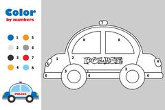 Police car in cartoon style, color by number, education paper game for the development of children, coloring page, kids preschool. Activity, printable worksheet vector illustration