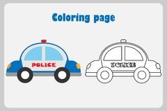 Police car in cartoon style, coloring page, education paper game for the development of children, kids preschool activity,. Printable worksheet, vector royalty free illustration