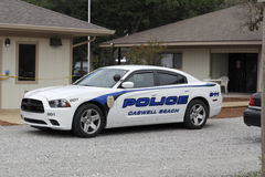 Police Car of Caswell Beach. Caswell Beach, NC, USA - September 29, 2016: One police car parked in front of the Town of Caswell Beach Police Department. One royalty free stock images