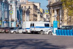 Police car in the center of St. Petersbur. St. Petersburg, Russia - May 01, 2019: police car in the center of St. Petersburg for the protection of order during stock images