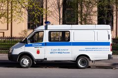 Police car in the center of St. Petersbur. St. Petersburg, Russia - May 01, 2019: police car in the center of St. Petersburg for the protection of order during royalty free stock images