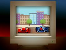 Police car chase pixel art game retro monitor screen. Illustration stock illustration