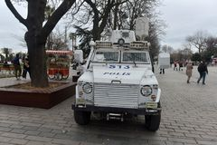 Police car in the city street. Turkey, Istanbul, 14,03,2018 Police car in the city street royalty free stock photos