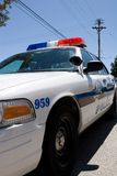 Police car closeup. Closeup of a white police cruiser Stock Images