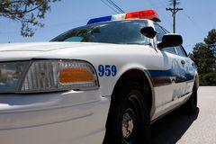 Police car closeup. Closeup of a white police cruiser Royalty Free Stock Image