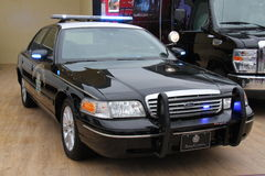 Police car. A Police car commonly use in america on a motor show Stock Photo