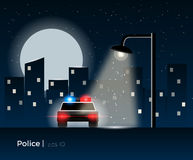 Police car concept. Police car standing under the lantern light, surrounded by a night city silhouette and shining moon. Stylish vector illustration with light Royalty Free Stock Photos