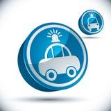 Police car 3d vector icon set. Royalty Free Stock Photo