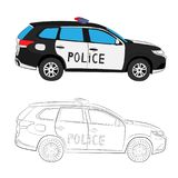 Police car drawing illustration stock image