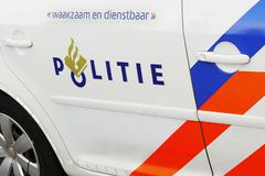 Police Car Dutch: Politie auto side view royalty free stock photography