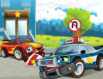 Police car at duty - illustration for the children Stock Photos