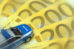 Police car on Euro bills Stock Photography