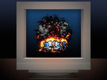 Police car explosion display on monitor screen  game style Stock Photo