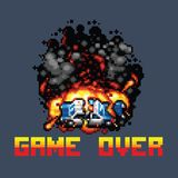 Police car explosion and game over message retro pixel art. Style illustration vector illustration