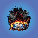 Police car explosion - vector pixel art style illustration Royalty Free Stock Photos