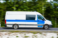 Police car. Fast moving police car on the road Stock Photo