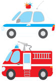 Police car and fire engine. Vector clip-arts of a police car and water engine Royalty Free Stock Photo
