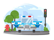 Police car with flasher Royalty Free Stock Images