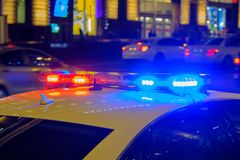 Police car with flashing lights. royalty free stock photos