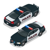 Police car. Flat 3d isometric high quality city service transport icon set. Isometric police car with front and rear Stock Photo
