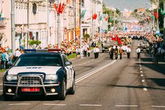 A police car in front of the Victory Day parade on May 9 in Gomel. Belarus royalty free stock photography