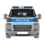 Police car front view  white. 3D rendering Royalty Free Stock Photos