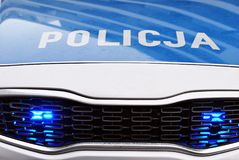 Police car, with full array of lights. Front a car. stock image