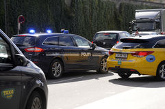POLICE CAR HARD TO PASS BY THOUGH TRAFFIC. Copenhagen /Denmark - 21.August. 2017. Police hard time to pass by traffic due to road are narrow. Photo.Francis royalty free stock photography