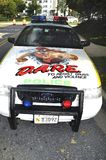 A police car has an anti drug message on its hood royalty free stock images