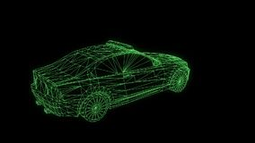 Police Car in Hologram Wireframe Style. Nice 3D Rendering stock footage