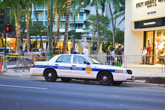 Police car in Honolulu. Police car parked in a street of Honolulu, capital of Hawaii Stock Images