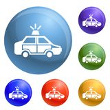 Police car icons set vector royalty free illustration