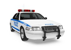 Police Car Isolated. On white background. 3D render Royalty Free Stock Image