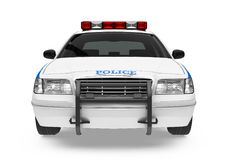 Police Car Isolated. On white background. 3D render Royalty Free Stock Photos