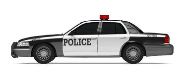 Police Car Isolated. On white background. 3D render Stock Photos
