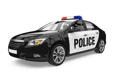 Police Car Isolated. On white background. 3D render Stock Image
