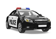 Police Car Isolated. On white background. 3D render Royalty Free Stock Photo